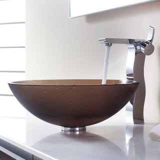 Kraus Bathroom Combo Set Frosted Brown Glass Vessel Sink/Sonus Faucet
