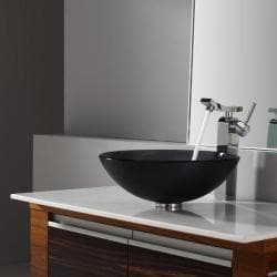 Kraus Frosted Black Glass Vessel Sink and Unicus Faucet