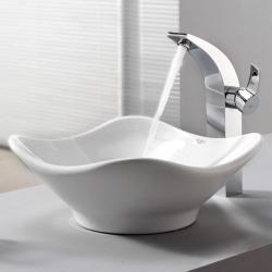 Kraus Bathroom Combo Set White Tulip Ceramic Sink and Illusio Faucet