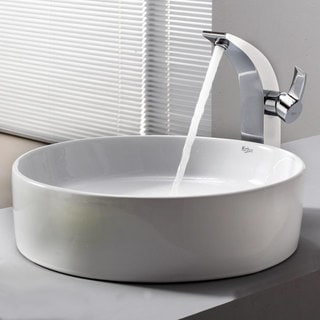 Kraus Bathroom Combo Set White Round Ceramic Sink and Illusio Faucet