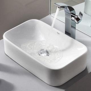 Kraus Bathroom Combo Set White Rectangular Ceramic Sink/Illusio Faucet