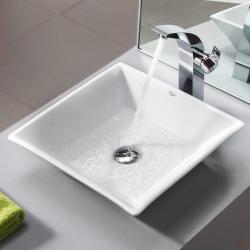 Kraus Bathroom Combo Set Modern White Square Ceramic Sink/Faucet