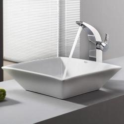 Kraus Bathroom Combo Set Modern White Square Ceramic Sink/Faucet