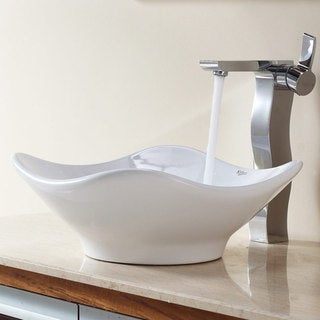 Kraus White Tulip Ceramic Sink and Sonus Faucet