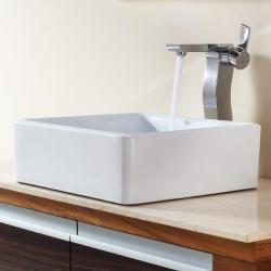 Kraus Bathroom Combo Set White Square Ceramic Sink and Sonus Faucet