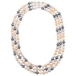 Pearlz Ocean Shell Pearl Triple Strand Necklace