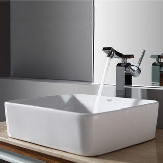 Kraus White Rectangular Ceramic Sink and Unicus Faucet