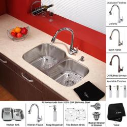Kraus Stainless-Steel Undermount Kitchen Sink, Brass Faucet/Soap Dispenser