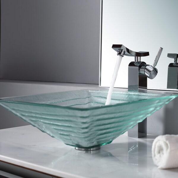 Kraus Bathroom Combo Set Clear Alexandrite Glass Vessel Sink/Faucet