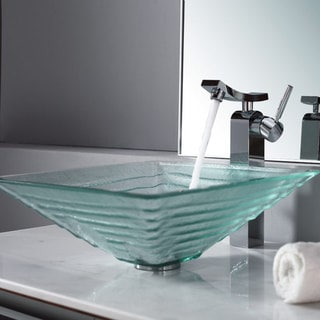Kraus Clear Alexandrite Glass Vessel Sink and Unicus Faucet