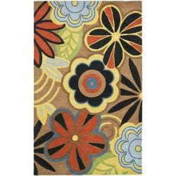 Handmade Flower Power Brown New Zealand Wool Rug (5'x 8')