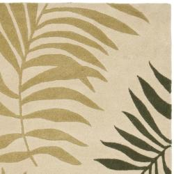 Handmade Ferns Beige New Zealand Wool Rug (7'6 x 9'6)