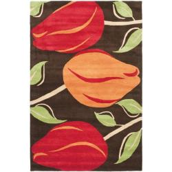 Handmade Tulips Brown New Zealand Wool Rug (5'x 8')