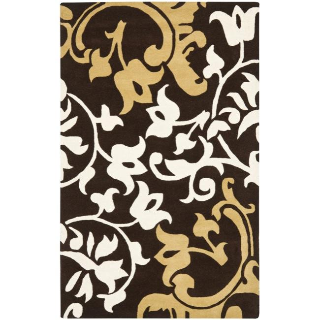 Safavieh Handmade Silhouettes Brown Intricate Floral New Zealand Wool Rug (7'6 x 9'6)