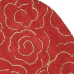 Handmade Soho Roses Red New Zealand Wool Rug (6' Round)