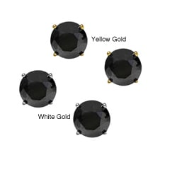 14K Gold 4ct TDW Round Black Diamond Stud Earrings