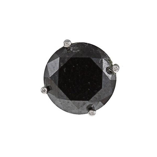 14k White Gold 3ct TDW Black Diamond Single Earring