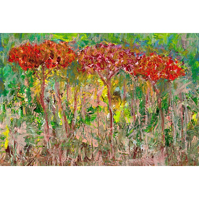 Ankan 'Red Trees' Gallery-wrapped Canvas Art