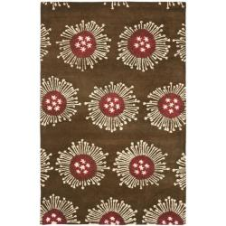 Handmade Soho Celebrations Brown New Zealand Wool Rug (7'6 x 9'6)