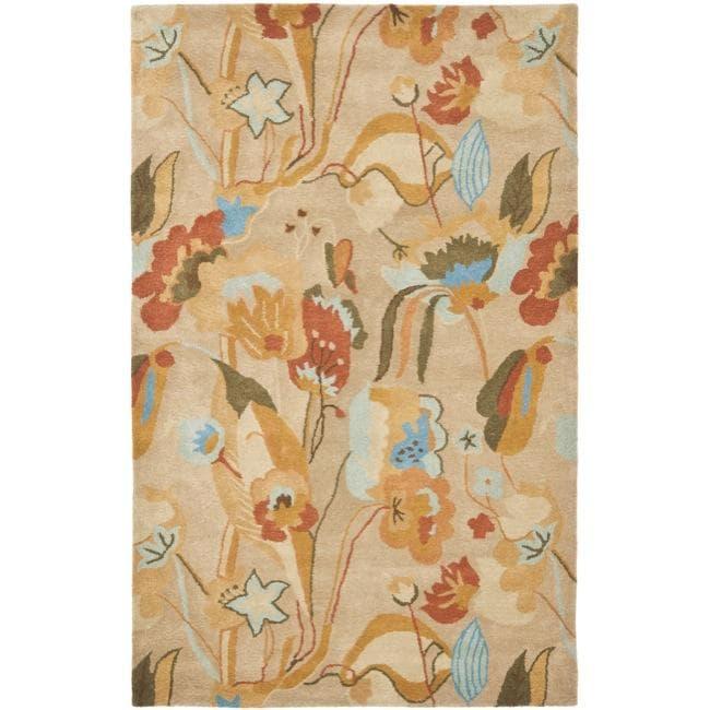 Safavieh Handmade Soho Flora Beige New Zealand Wool Rug (7'6 x 9'6)