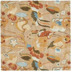 Handmade Soho Flora Beige New Zealand Wool Rug (6' Square)
