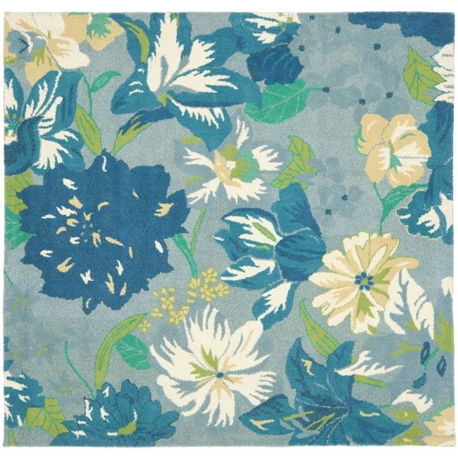 Safavieh Handmade Soho Botanical Blue New Zealand Wool Rug (6' Square)
