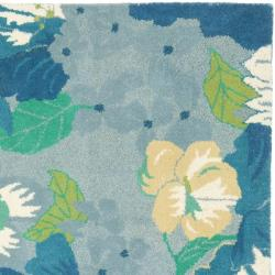 Handmade Soho Botanical Blue New Zealand Wool Rug (6' Square)