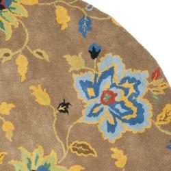 Handmade Soho Paradise Brown New Zealand Wool Rug (6' Round)