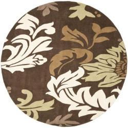 Handmade Soho Bontanical Brown New Zealand Wool Rug (6' Round)
