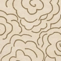 Handmade Soho Roses Beige New Zealand Wool Rug (7'6 x 9'6)