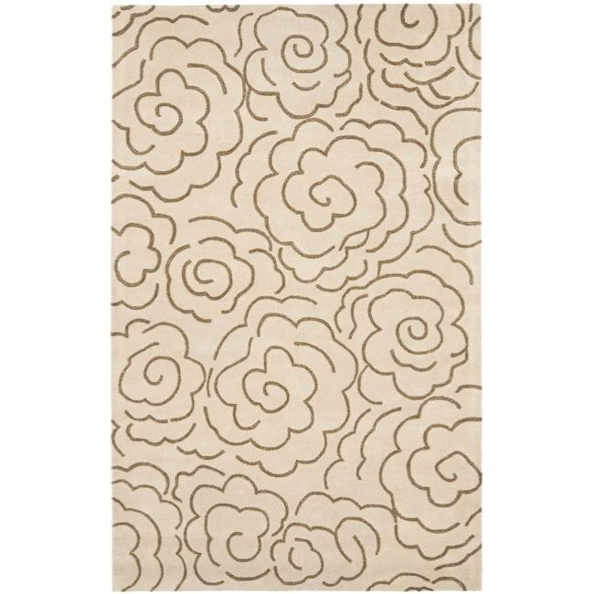 Safavieh Handmade Soho Roses Beige New Zealand Wool Rug (5' x 8')