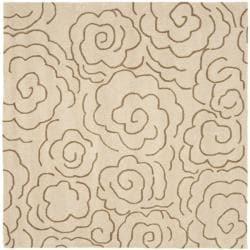 Handmade Soho Roses Beige New Zealand Wool Rug (6' Square)