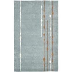 Handmade Soho Rain Blue New Zealand Wool Rug (7'6 x 9'6)