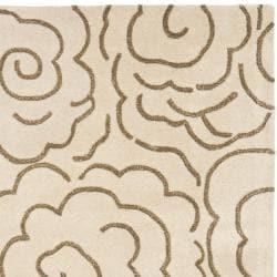 Handmade Soho Roses Beige New Zealand Wool Rug (3'6 x 5'6')