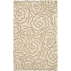 Handmade Soho Roses Beige New Zealand Wool Rug (3'6 x 5'6')