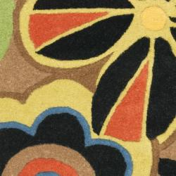 Handmade Flower Power Brown New Zealand Wool Rug (2' x 3')