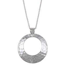 "La Preciosa Sterling Silver Hammered Open-Circle 18"" Necklace"