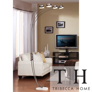 Tribecca home modern chrome metal arch lamp for Modern 3 light chrome metal arch floor lamp