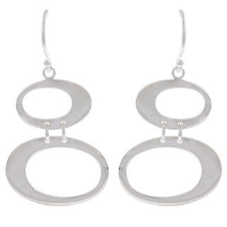 La Preciosa Sterling Silver Double Open Oval Earrings