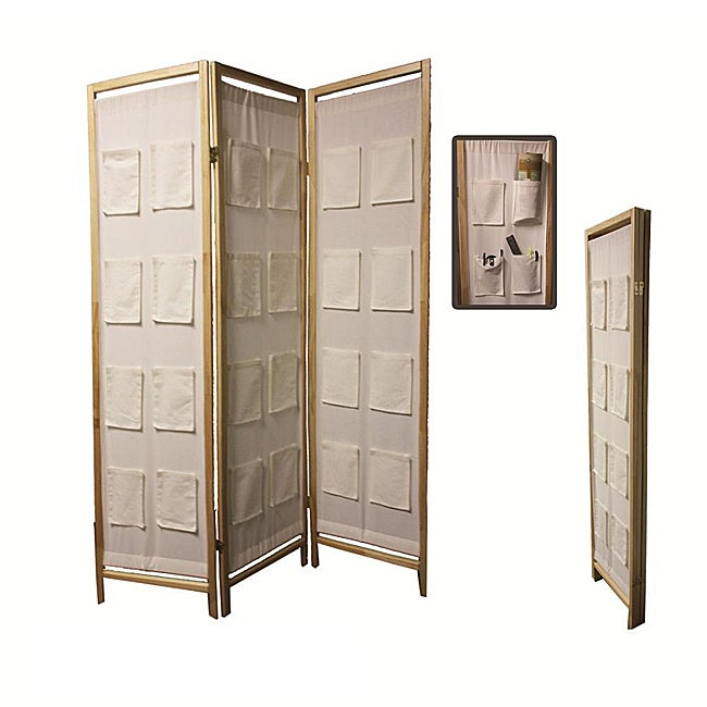 Natural Wood 3-panel Room Divider with Pocket Holders