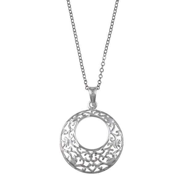 La Preciosa Sterling Silver Diamond-cut Filigree Necklace