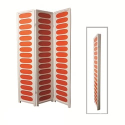 White and Orange Wood 3-panel Screen Room Divider