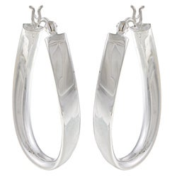 La Preciosa Sterling Silver Curved Oval Hoop Earrings