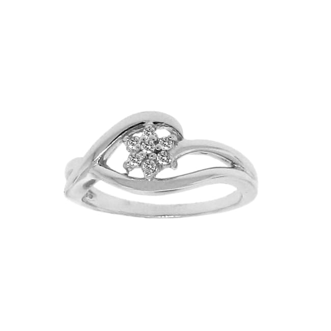 Sterling Silver 1/10ct TDW Diamond Flower Ring (H-I, I2-I3)