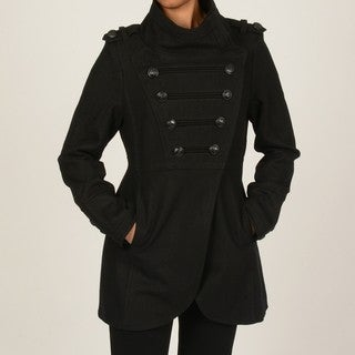 CoffeeShop Women's Black Double-breasted Military Coat