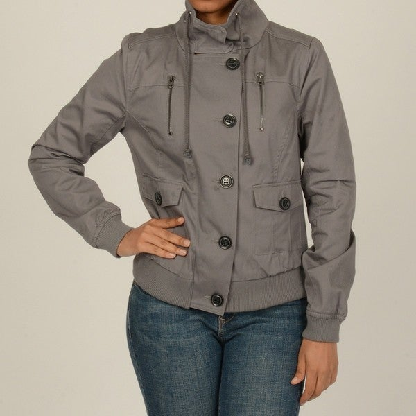 CoffeeShop Juniors Pewter Cotton Twill Bomber Jacket