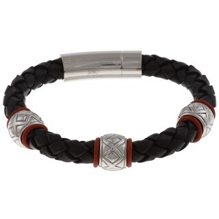 Men's Stainless Steel Braided Leather Bracelet