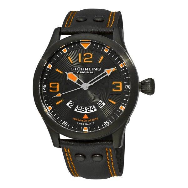 Stuhrling Original Men's Black/Orange Eagle Brigade Swiss Quartz Date Watch