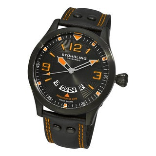 Stuhrling Original Men's Black/Orange Eagle Brigade Swiss Quartz Date Watch