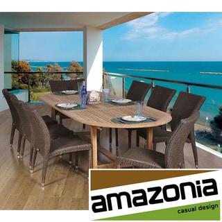 Michelangelo Oval 9-piece Teak and Wicker Dining Set